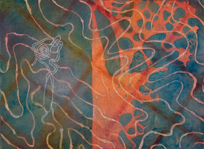 Abstract painting with biologic forms. Acrylic and charcoal on canvas.