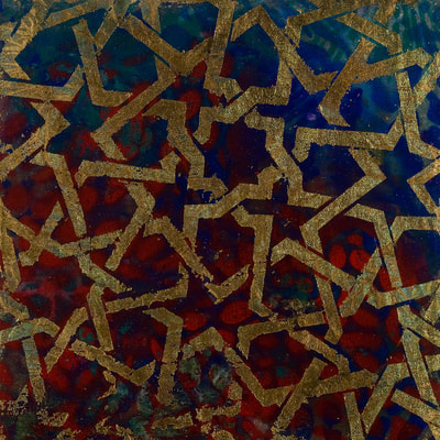 Abstract painting with mudejar patterns. Acrylic and metal leaf on canvas.