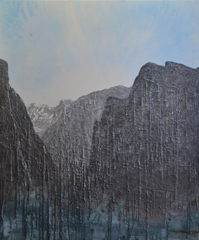 Abstract painting of Yosemite National Park. Acrylic and encaustic on canvas.